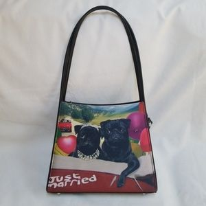 Just Married Black Pugs On A Purse Handbag